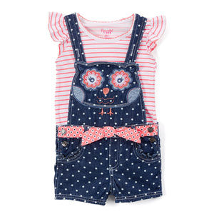 NWT Nannette Owl Girls Jean Shortall Outfit Set